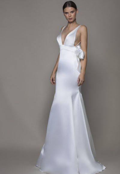 Sleeveless V-neckline Satin Sheath Wedding Dress With Asymmetrical Back by Pnina Tornai