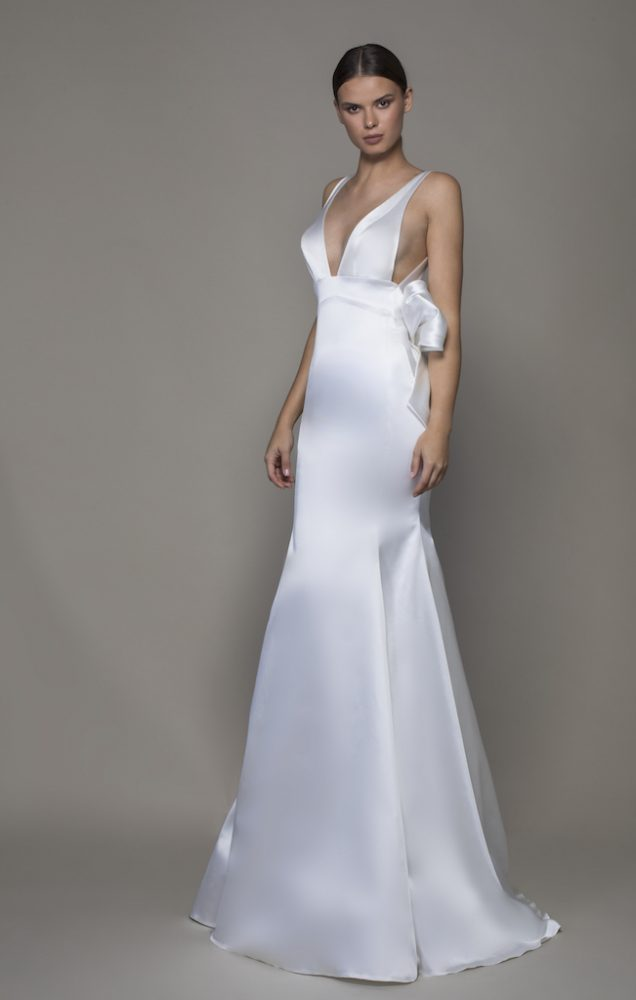 Sleeveless V-neckline Satin Sheath Wedding Dress With Asymmetrical Back by Pnina Tornai - Image 1
