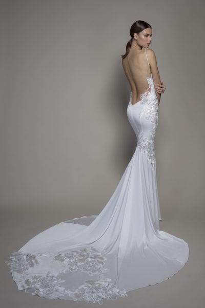 Spaghetti Strap Crepe Sheath Wedding Dress With Floral Applique And Cowl Neck by Pnina Tornai - Image 2