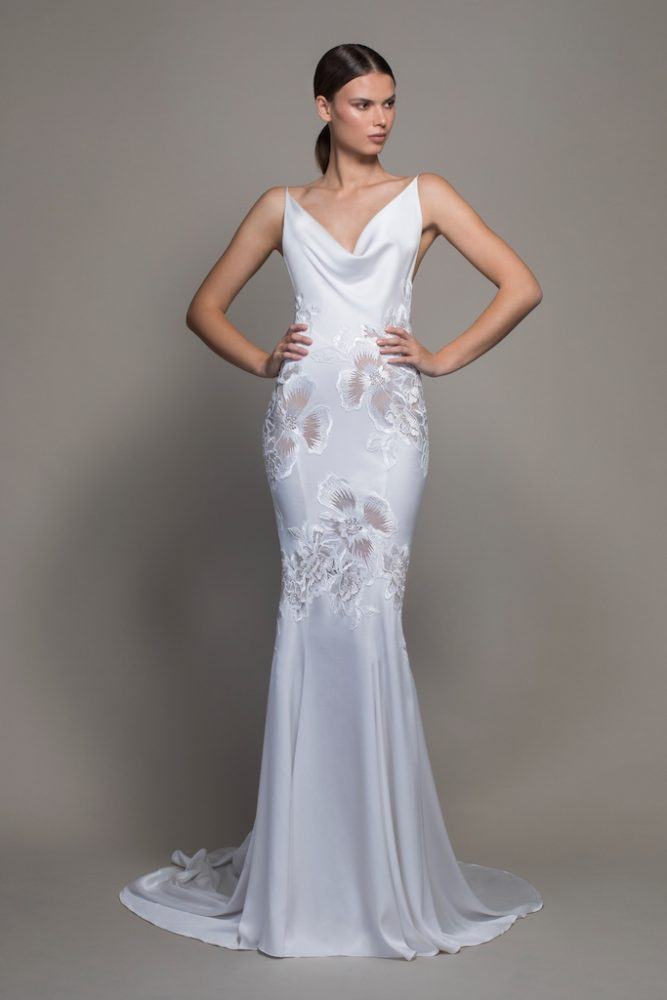 Spaghetti Strap Crepe Sheath Wedding Dress With Floral Applique And Cowl Neck by Pnina Tornai - Image 1