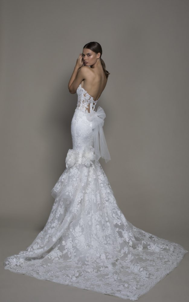 Strapless Plunging V-neckline Lace Mermaid Wedding Dress by Pnina Tornai - Image 2