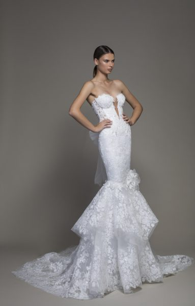 Strapless Plunging V-neckline Lace Mermaid Wedding Dress by Pnina Tornai - Image 1