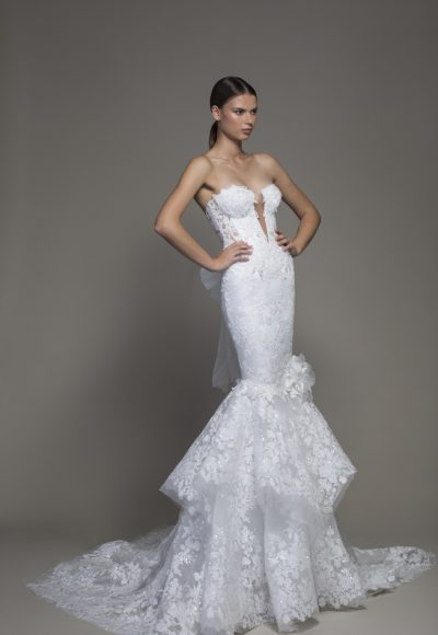 Strapless Plunging V-neckline Lace Mermaid Wedding Dress by Pnina Tornai