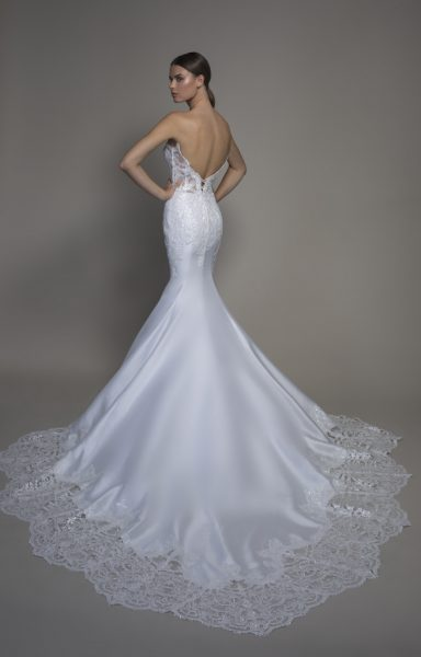 Strapless Satin Sweetheart Neckline Mermaid Wedding Dress by Pnina Tornai - Image 2