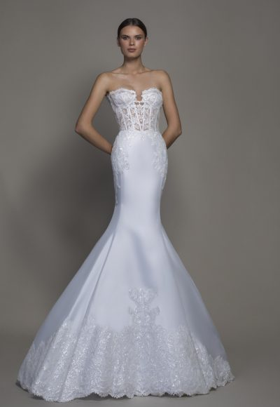 Strapless Satin Sweetheart Neckline Mermaid Wedding Dress by Pnina Tornai