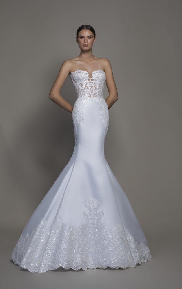 Strapless Satin Sweetheart Neckline Mermaid Wedding Dress by Pnina Tornai - Image 1