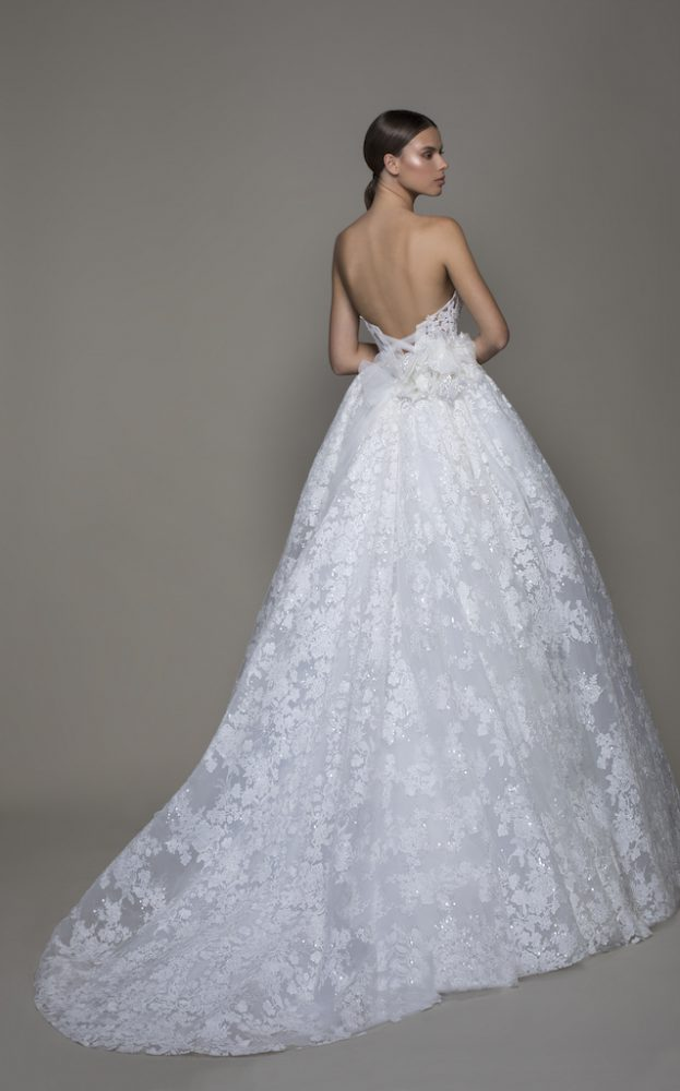 Strapless Sequined Lace Ball Gown Wedding Dress With Flowers by Pnina Tornai - Image 2