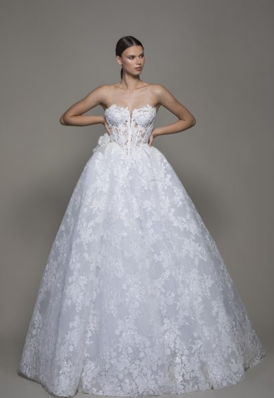 Strapless Sequined Lace Ball Gown Wedding Dress With Flowers by Pnina Tornai