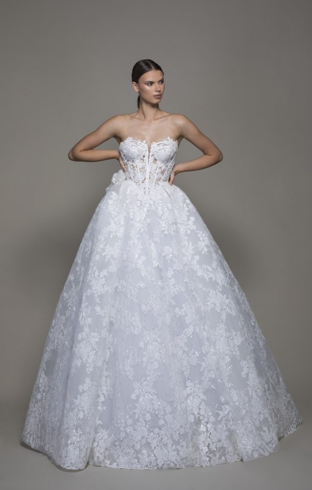 Strapless Sequined Lace Ball Gown Wedding Dress With Flowers by Pnina Tornai - Image 1