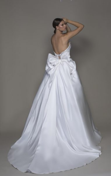 Strapless Straight Neckline Satin Ball Gown Wedding Dress With Crystal Butterflies by Pnina Tornai - Image 2