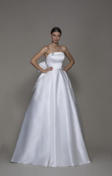 Strapless Straight Neckline Satin Ball Gown Wedding Dress With Crystal Butterflies by Pnina Tornai - Image 1