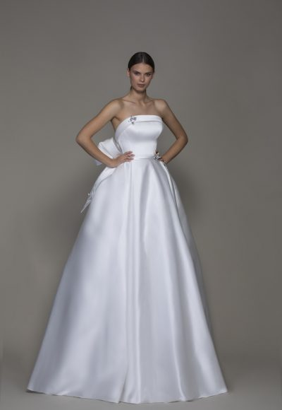Strapless Straight Neckline Satin Ball Gown Wedding Dress With Crystal Butterflies by Pnina Tornai