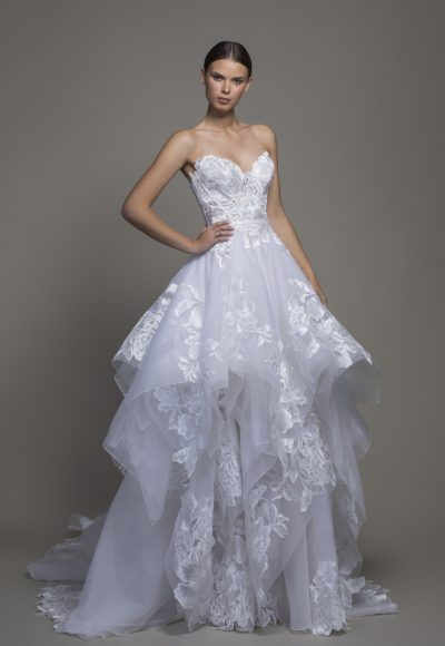 Strapless Sweetheart A-line Wedidng Dress With Ruffle Skirt by Pnina Tornai