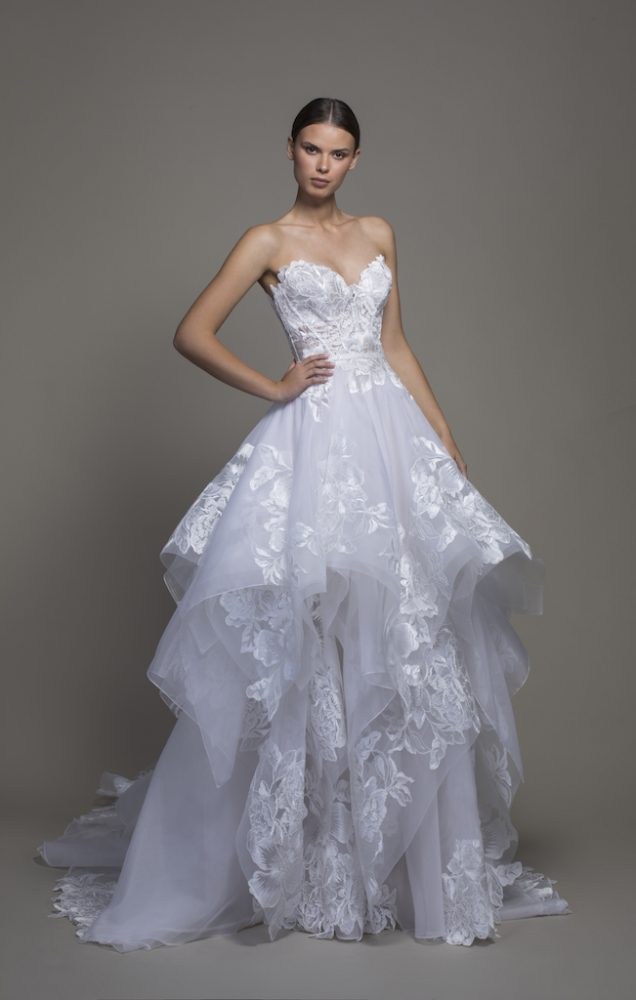 Strapless Sweetheart A-line Wedidng Dress With Ruffle Skirt by Pnina Tornai - Image 1