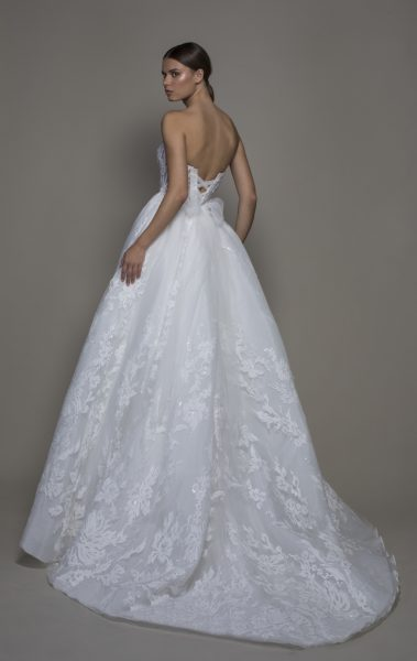 Strapless Sweetheart Neckline Lace Ball Gown Wedding Dress by Pnina Tornai - Image 2