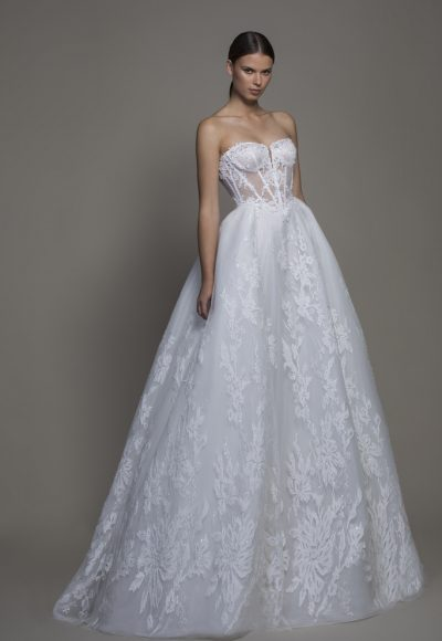 Strapless Sweetheart Neckline Lace Ball Gown Wedding Dress by Pnina Tornai