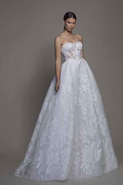 Strapless Sweetheart Neckline Lace Ball Gown Wedding Dress by Pnina Tornai - Image 1