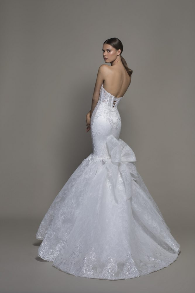 Strapless Sweetheart Neckline Lace Mermaid Wedding Dress With Bow by Pnina Tornai - Image 2