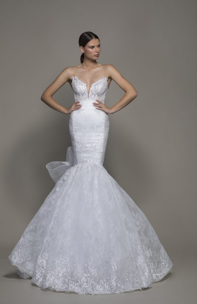 Strapless Sweetheart Neckline Lace Mermaid Wedding Dress With Bow by Pnina Tornai - Image 1