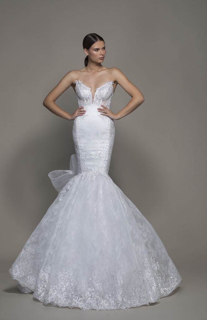 Strapless Sweetheart Neckline Lace Mermaid Wedding Dress With Bow