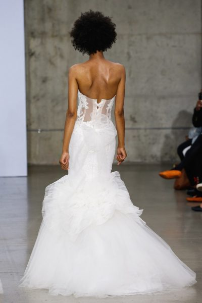 Strapless Sweetheart Neckline Lace Mermaid Wedding Dress With Tulle Skirt by Pnina Tornai - Image 2