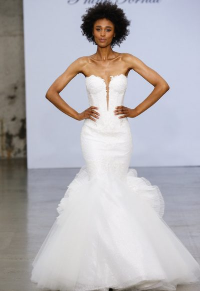Strapless Sweetheart Neckline Lace Mermaid Wedding Dress With Tulle Skirt by Pnina Tornai