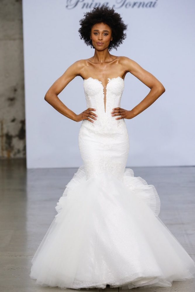 Strapless Sweetheart Neckline Lace Mermaid Wedding Dress With Tulle Skirt by Pnina Tornai - Image 1