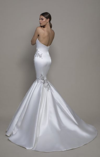 Strapless Sweetheart Neckline Satin Mermaid Wedding Dress With Crystals by Pnina Tornai - Image 2