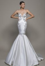 Strapless Sweetheart Neckline Satin Mermaid Wedding Dress With Crystals by Pnina Tornai - Image 1
