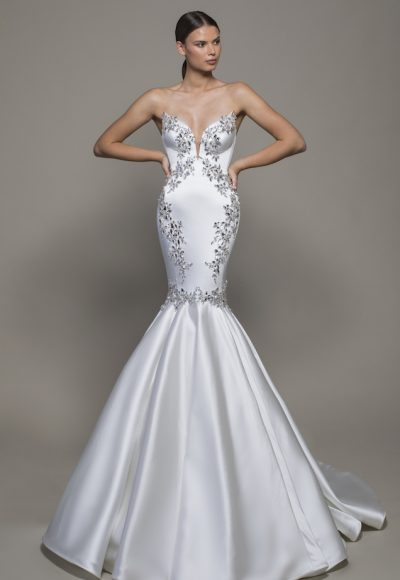 Strapless Sweetheart Neckline Satin Mermaid Wedding Dress With Crystals by Pnina Tornai