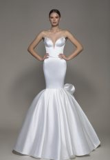 Strapless V-neckline Satin Mermaid Wedding Dress With Bow by Pnina Tornai - Image 1