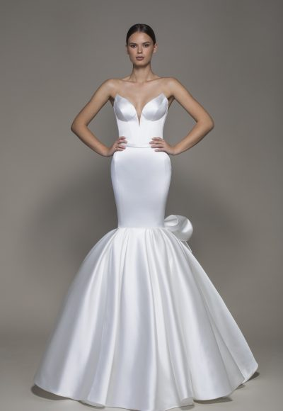 Strapless V-neckline Satin Mermaid Wedding Dress With Bow by Pnina Tornai