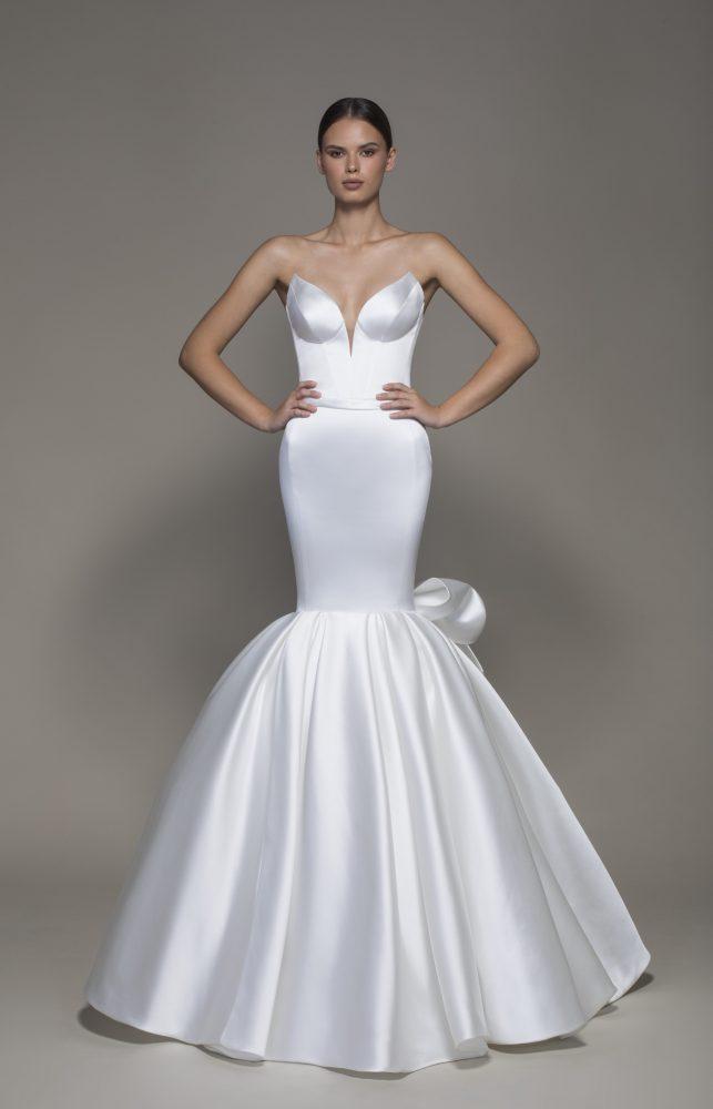 Strapless V-neckline Satin Mermaid Wedding Dress With Bow by Pnina Tornai - Image 1