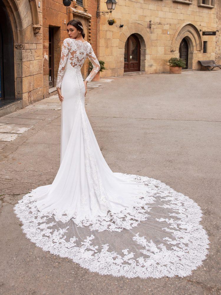 Illusion Long Sleeve V-neckline Crepe Sheath Wedding Dress by Pronovias - Image 2