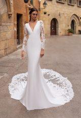 Illusion Long Sleeve V-neckline Crepe Sheath Wedding Dress by Pronovias - Image 1