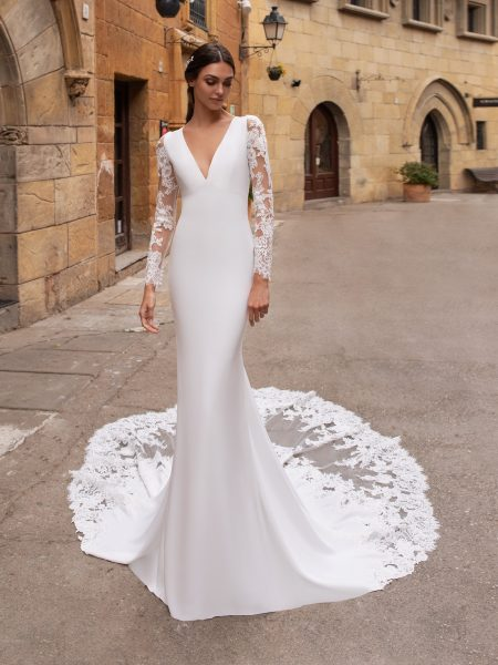 Simple Long Sleeve Wedding Gown