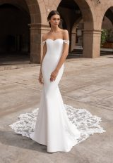 Off-the-shoulder Crepe Fit And Flare Wedding Dress With Lace Accented Train by Pronovias - Image 1