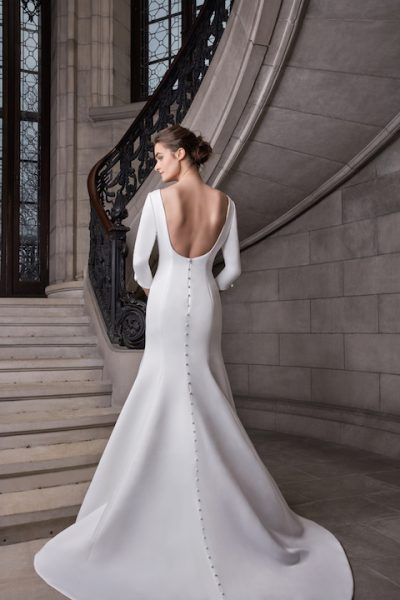 Bateau Neckline 3/4 Sleeve Satin Fit And Flare Wedding Dress by Sareh Nouri - Image 2