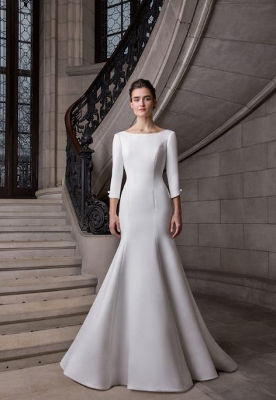 Bateau Neckline 3/4 Sleeve Satin Fit And Flare Wedding Dress by Sareh Nouri