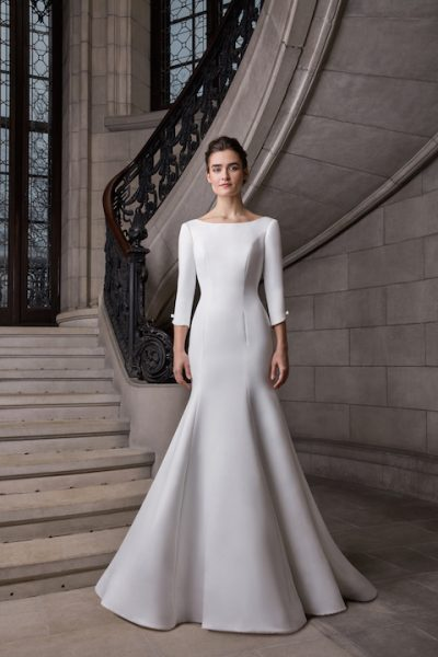 Bateau Neckline 3/4 Sleeve Satin Fit And Flare Wedding Dress by Sareh Nouri - Image 1