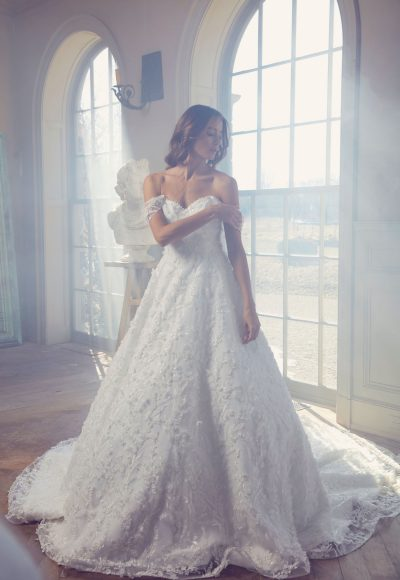 Off-the Shoulder Sweetheart Neckline Embroidered Lace Ball Gown Wedding Dress by Sareh Nouri