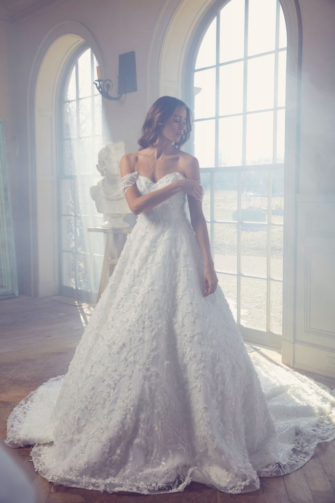 Off-the Shoulder Sweetheart Neckline Embroidered Lace Ball Gown Wedding Dress by Sareh Nouri - Image 1