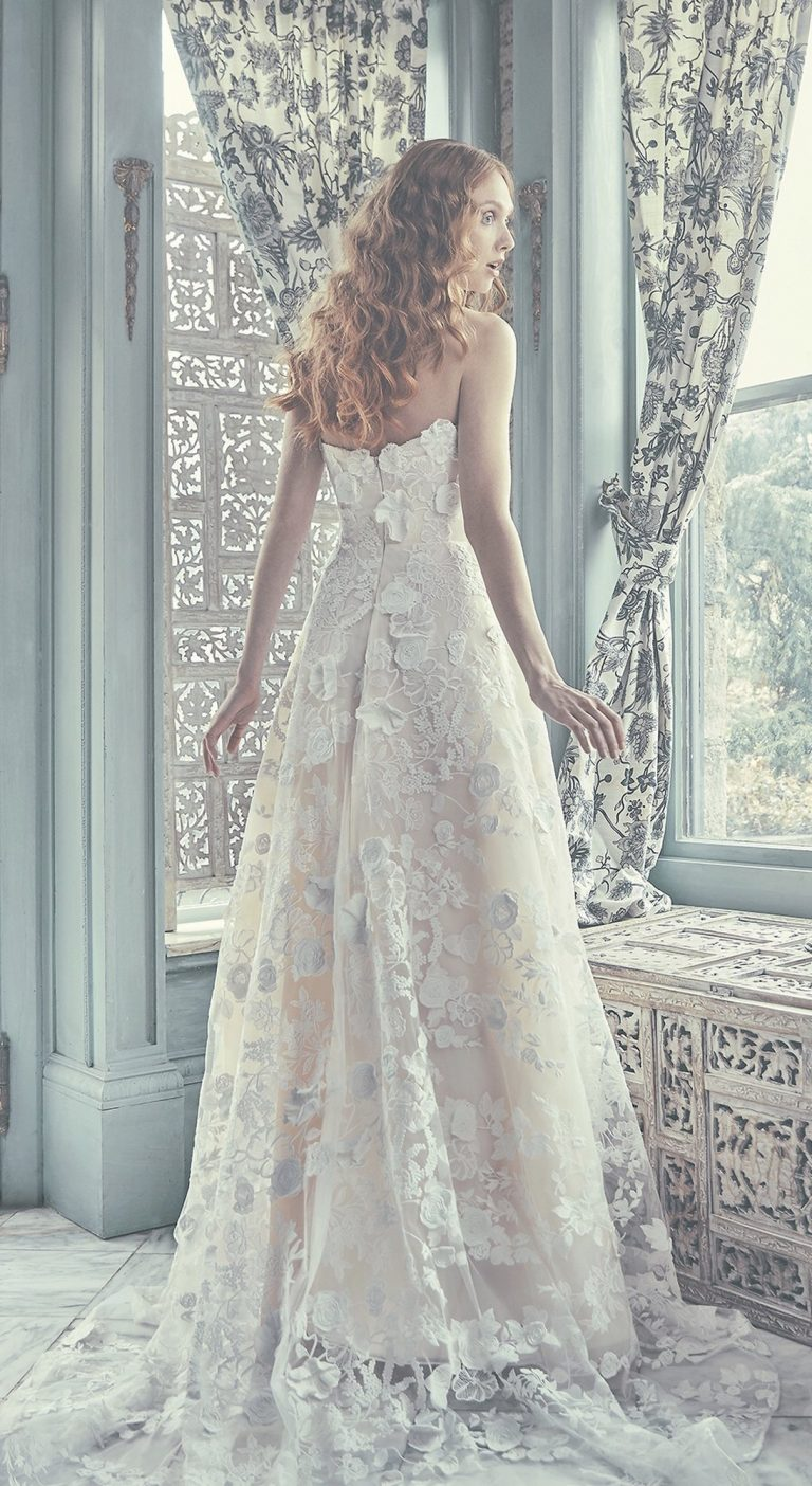 Strapless Sweetheart A-Line Wedding Dress With Three Dimensional Lace by Sareh Nouri - Image 2