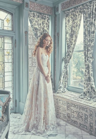 Strapless Sweetheart A-Line Wedding Dress With Three Dimensional Lace by Sareh Nouri
