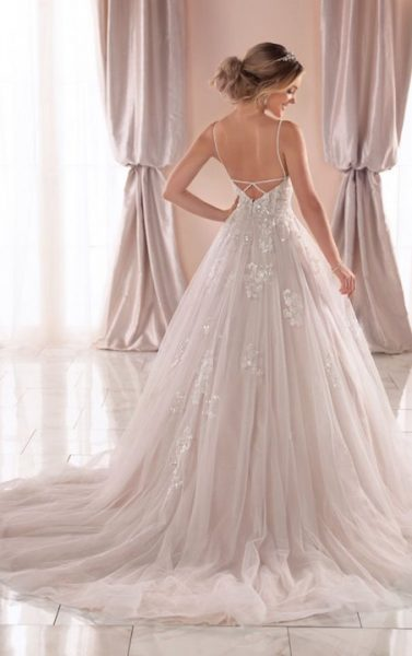 Spaghetti Strap V-neckline Ball Gown Wedding Dress With Beading And Embroidery by Stella York - Image 2