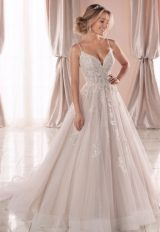 Spaghetti Strap V-neckline Ball Gown Wedding Dress With Beading And Embroidery by Stella York - Image 1