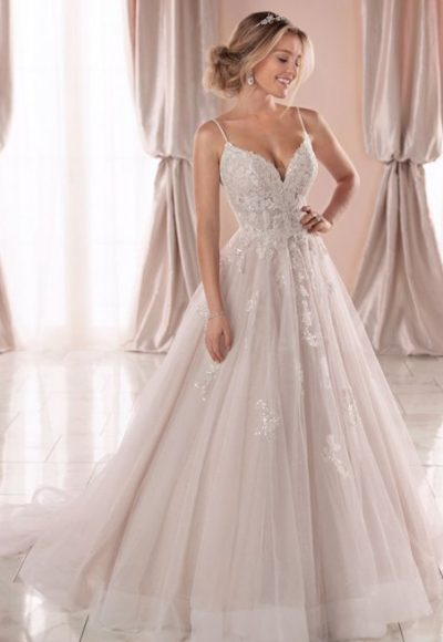 Spaghetti Strap V-neckline Ball Gown Wedding Dress With Beading And Embroidery by Stella York