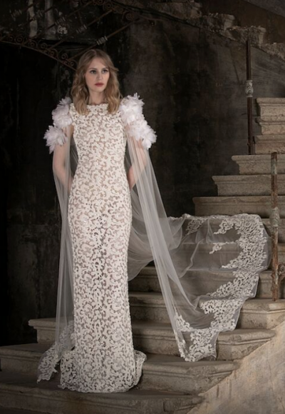 High Neck Sleeveles Lace Sheath Wedding Dress by Tony Ward