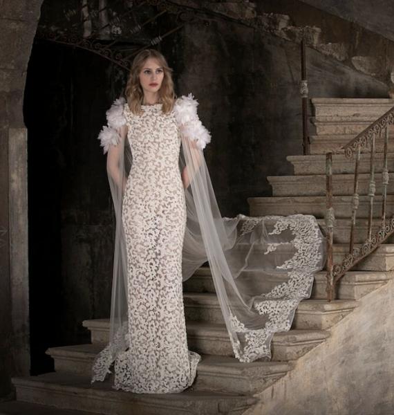 High Neck Sleeveles Lace Sheath Wedding Dress by Tony Ward - Image 1