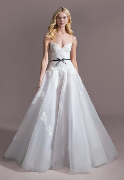 Spaghetti Strap Sweetheart Ballgown Wedding Dress With Chapel Train by Allison Webb